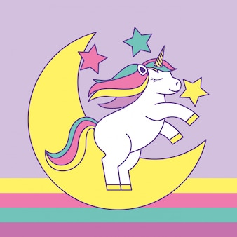 Linda caricatura de unicornio en luna y estrellas