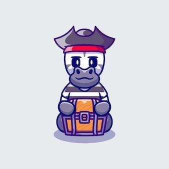 Linda cebra pirata de halloween con cofre del tesoro