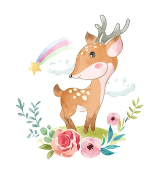 Linda cerveza con flores y arcoiris ilustración