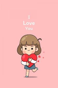 Linda chica abraza el corazón y corre en blackground rosa