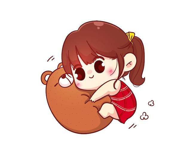 Linda chica abrazo oso de peluche, ilustración de personaje de dibujos animados