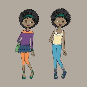 Linda chica adolescente en dos trajes de moda