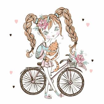Linda chica adolescente fashionista con gato, bicicleta.
