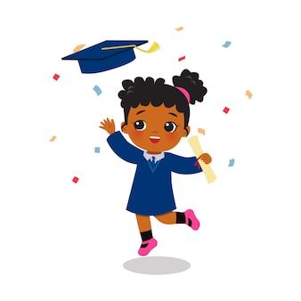 Linda chica africana celebra la graduación con confeti diseño de dibujos animados de vector plano