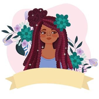 Linda chica afroamericana con pelo rasta, flores y cinta