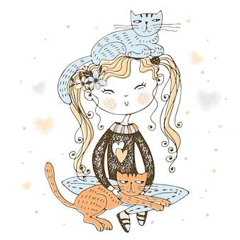 Linda chica alegre sentada con su ilustración de gatos mascotas