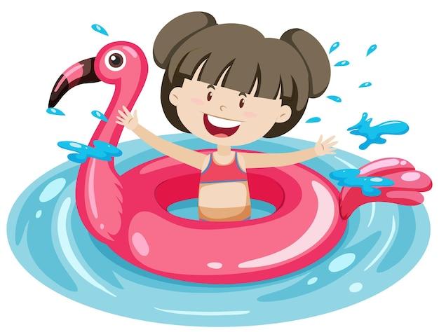Linda chica con anillo de natación flamingo en el agua aislado