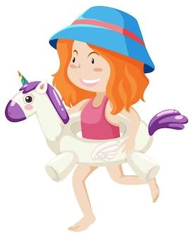 Linda chica con anillo de natación unicornio aislado
