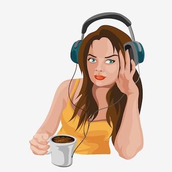 Linda chica con auriculares escuchando música