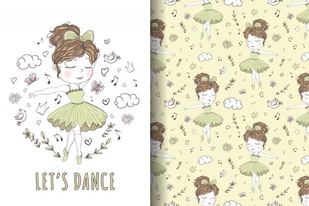 Linda chica bailando ballet dibujado a mano ilustración y patrón