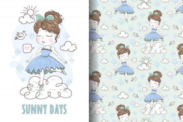 Linda chica bailando en la nube dibujada a mano ilustración y patrón