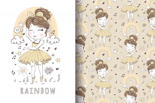 Linda chica bailarina dibujada a mano ilustración y patrón
