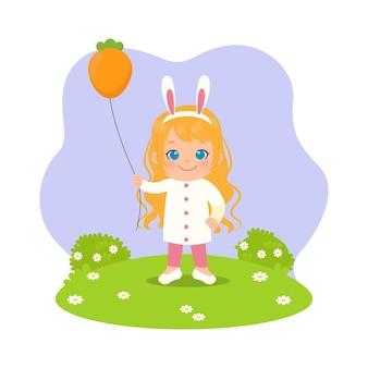 Linda chica con banda para la cabeza de conejo y sosteniendo globo con forma de zanahoria. imágenes prediseñadas de pascua.
