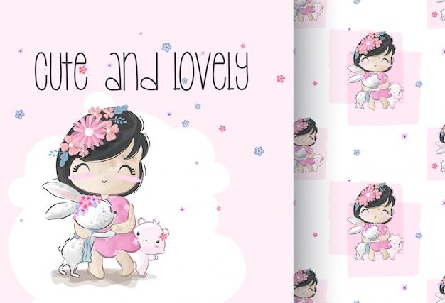 Linda chica con bebé animal ilustración de patrones sin fisuras