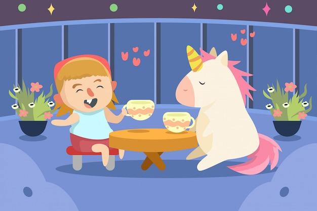 Linda chica bebiendo café con ilustración de unicornio