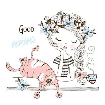 Linda chica bebiendo té con un gato mascota. buenos días.
