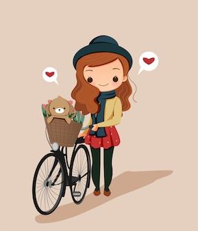 Linda chica con bicicleta y perro en traje de invierno