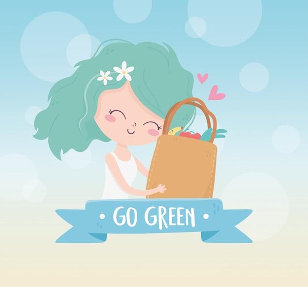 Linda chica con bolsa de compras ecología del medio ambiente del mercado