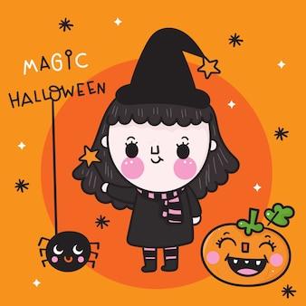 Linda chica bruja de halloween con calabaza y araña kawaii cartoon