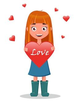 Linda chica con cartel de corazón