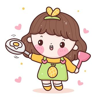 Linda chica chef de dibujos animados cocinando huevo frito estilo kawaii