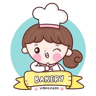 Linda chica chef de dibujos animados logotipo de panadería casera kawaii