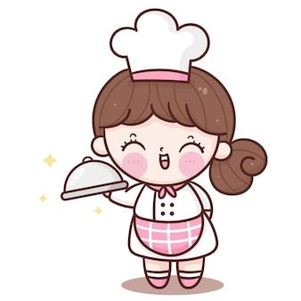 Linda chica chef de dibujos animados que sirve comida kawaii mascota tienda de panadería