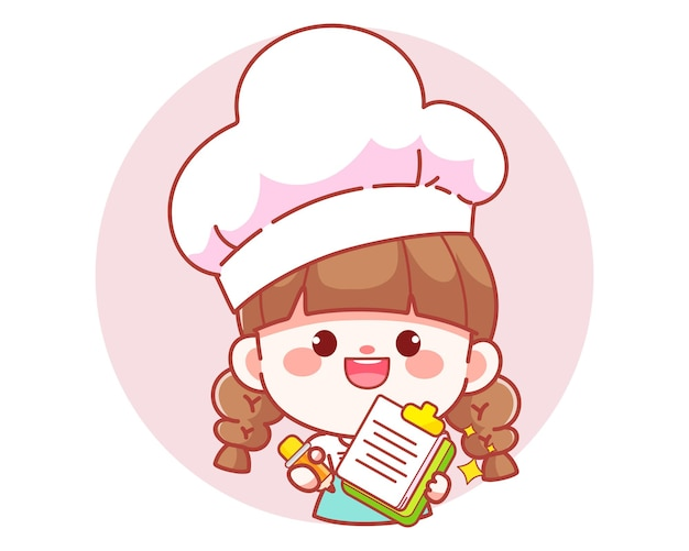 Linda chica chef escribiendo orden en portapapeles banner logo dibujos animados arte ilustración