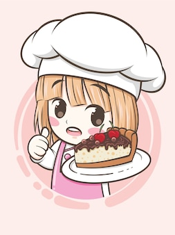 Linda chica chef de panadería sosteniendo un pastel de pastel de chocolate - personaje de dibujos animados e ilustración de logotipo