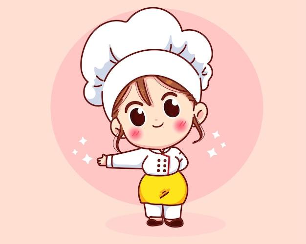 Linda chica chef sonriendo en uniforme dando la bienvenida e invitando a sus invitados ilustración de arte de dibujos animados