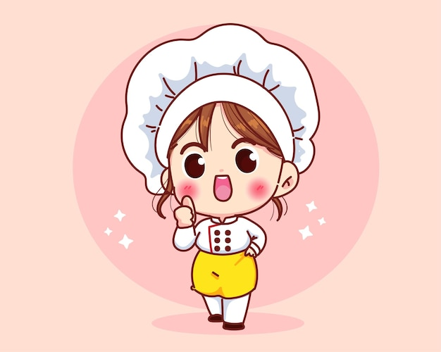 Linda chica chef sonriendo en uniforme dando pulgares arriba ilustración de arte de dibujos animados