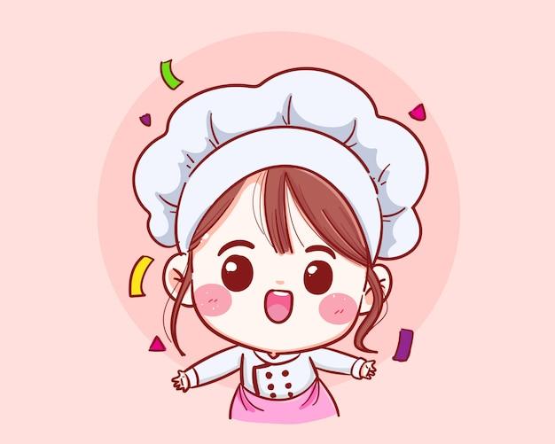 Linda chica chef sonriente en uniforme de bienvenida del vector.