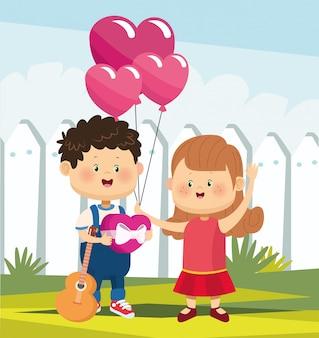 Linda chica y chico enamorado de globos de corazón y guitarra sobre valla blanca