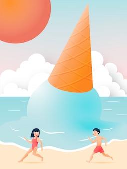 Linda chica y chico con hermosa playa y helado ilustración