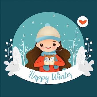 Linda chica con chocolate caliente en cartel de feliz invierno