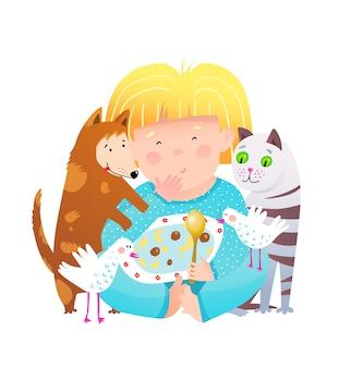 Linda chica compartiendo comida con perros y gatos