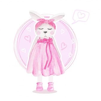 Linda chica conejito rosa ilustración acuarela