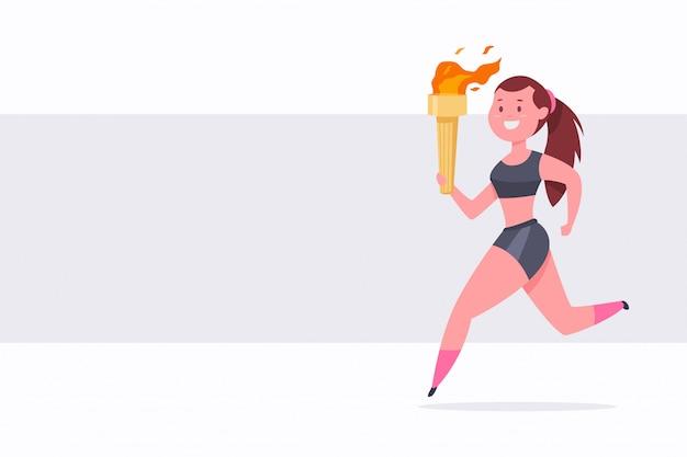 Linda chica corre con una antorcha llameante en la mano. ilustración deportiva de dibujos animados.