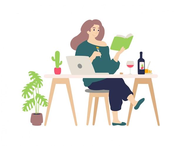 Linda chica descansando en la computadora en casa. una joven bebe cata de vinos y quesos.