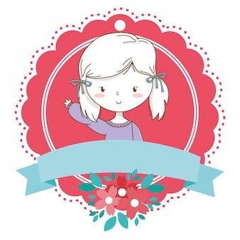 Linda chica de dibujos animados elegante traje retrato floral bloom frame
