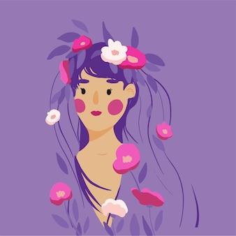 Linda chica de dibujos animados con guirnalda de flores y pelo largo.