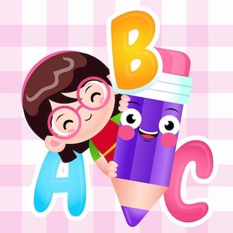 Linda chica de dibujos animados con lápiz con alfabeto