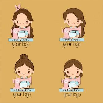 Linda chica con dibujos animados de máquina de coser para el diseño del logotipo de la marca