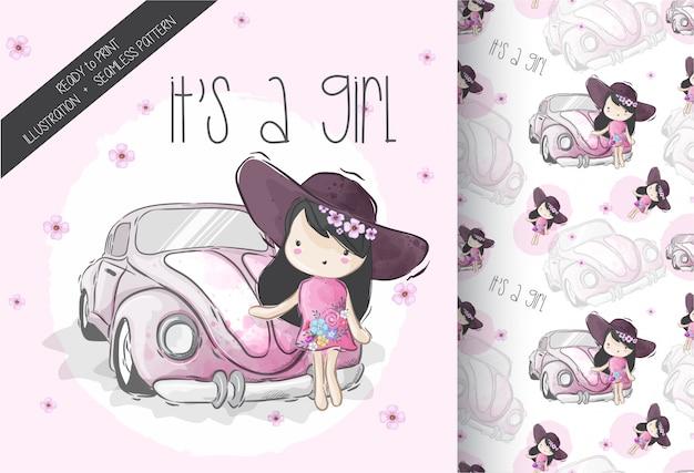 Linda chica de dibujos animados en mini coche con patrones sin fisuras