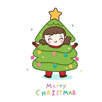 Linda chica de dibujos animados de personajes de árbol de navidad