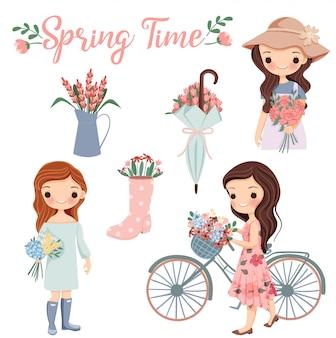 Linda chica de dibujos animados con variedad de flores y elementos de la temporada de primavera clip art