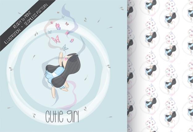 Linda chica de dibujos animados volar imaginación con patrones sin fisuras