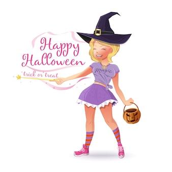 Linda chica en un disfraz de bruja con una canasta en forma de calabaza. feliz halloween. truco o trato. joven hermosa bruja de halloween con una varita mágica. ilustración