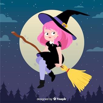 Linda chica con disfraz de bruja de halloween