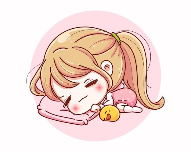 Linda chica durmiendo con diseño de personajes de dibujos animados y feliz.